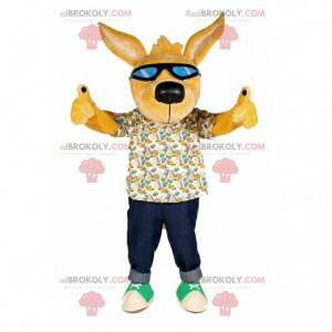 Žlutý pes maskot se slunečními brýlemi - Redbrokoly.com