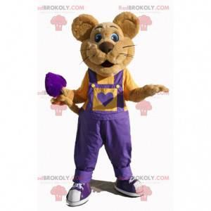 Hnědý myší maskot s fialovým overalem - Redbrokoly.com
