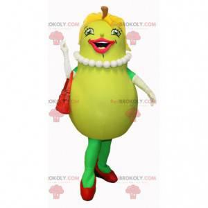 Lächelndes und weibliches grünes Birnenmaskottchen -