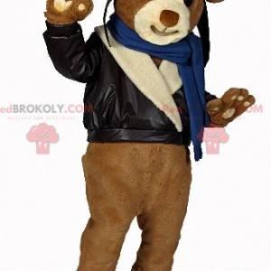 Brown teddy bear mascot in biker outfit - Redbrokoly.com