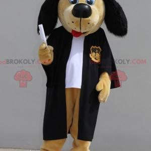 Graduiertes Hundemaskottchen. Junges Absolventenmaskottchen -
