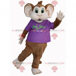 Brown and white monkey mascot with green eyes - Redbrokoly.com