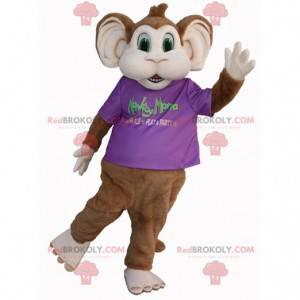 Hnědý a bílý opice maskot se zelenýma očima - Redbrokoly.com