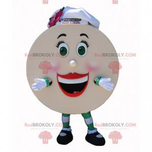 Giant pancake mascot with a chef's hat - Redbrokoly.com