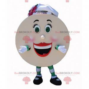 Reuze pannenkoek mascotte met een koksmuts - Redbrokoly.com