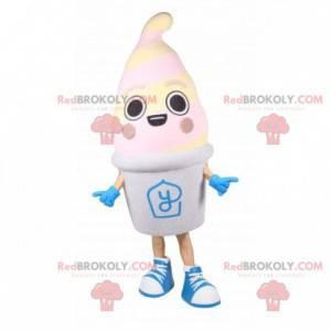Gefrorenes Joghurt-Maskottchen. Riesiges Eismaskottchen -