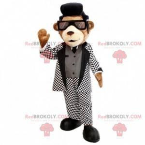 Brun teddy maskot med en fin svart og hvit drakt -