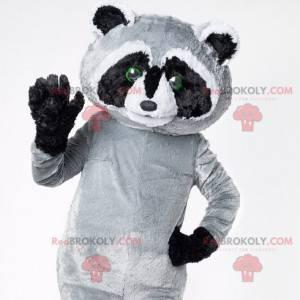 Giant black gray and white raccoon mascot - Redbrokoly.com
