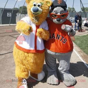 2 mascots: a beige bear and a gray sea lion - Redbrokoly.com