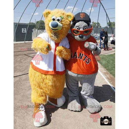 2 maskoti: béžový medvěd a šedý lachtan - Redbrokoly.com