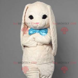 Hvit kaninmaskot med blå slips - Redbrokoly.com