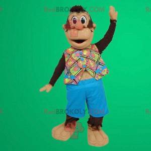 Maskot roztomilá opička s havajskou košili - Redbrokoly.com
