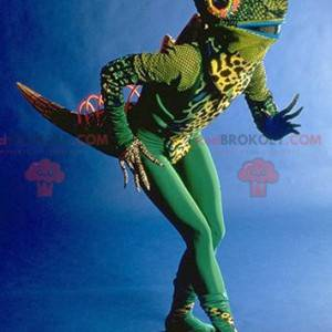 Zeer originele groene kameleon mascotte - Redbrokoly.com