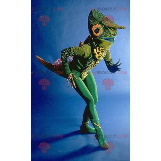 Very original green chameleon mascot - Redbrokoly.com