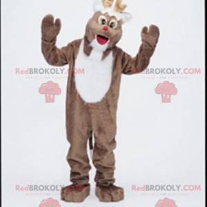 Hnědý a bílý sob maskot. Vánoční maskot - Redbrokoly.com