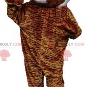 Maskottchen brauner und weißer Leopard mit schwarzen Streifen -