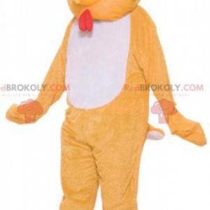 Oranžový a bílý kohout slepice maskot - Redbrokoly.com