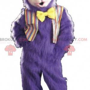 Mascote gorila roxo muito peludo com gravata borboleta -