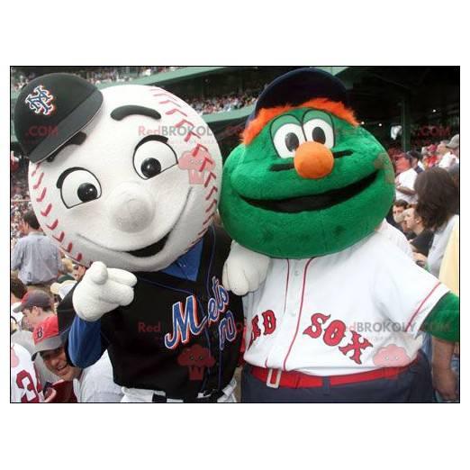 2 Maskottchen: ein grünes Monster und ein Baseball -
