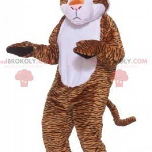 Mascot orange white and black leopard. Feline costume -