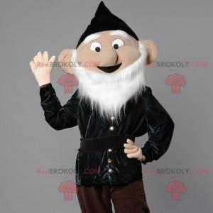 Vousatý skřítek maskot s černou špičatou čepicí - Redbrokoly.com