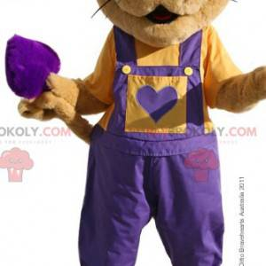 Brown mouse mascot with purple overalls - Redbrokoly.com