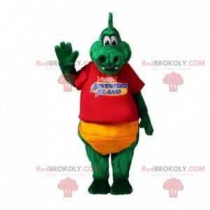 Měkký a zábavný zelený a žlutý krokodýlí maskot - Redbrokoly.com