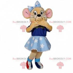 Maskotka beżowa myszka z niebieską sukienką i kokardką -