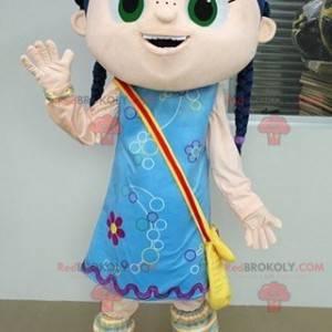 Girl mascot with braids and a blue dress - Redbrokoly.com