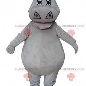 Mascote hipopótamo cinza rechonchudo e fofo - Redbrokoly.com
