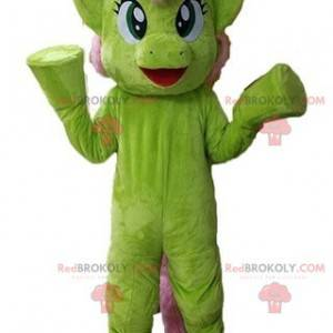 Very beautiful and colorful green and pink pony mascot -
