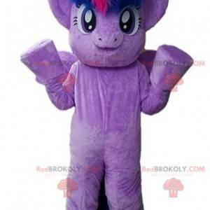Riesiges und sehr warmes lila Pony-Maskottchen - Redbrokoly.com