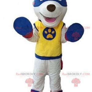 White dog mascot in superhero outfit - Redbrokoly.com