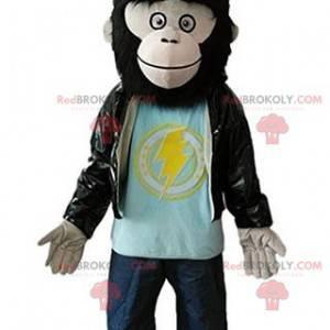 Mascote macaco peludo gorila com jaqueta de couro -