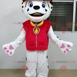 Weißes und schwarzes dalmatinisches Hundemaskottchen verkleidet