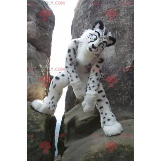 Weißes und schwarzes Gepardenmaskottchen - Redbrokoly.com