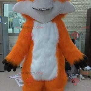 Miękka i włochata biało-pomarańczowa maskotka lis -