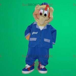 Gemütliches Schneemannmaskottchen in blauer Uniform -