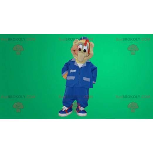 Žoviální sněhulák maskot oblečený v modré uniformě -