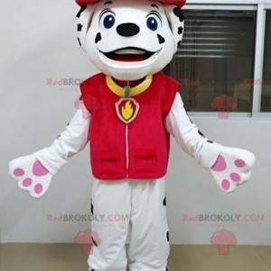 Dalmatian mascot in firefighter outfit - Redbrokoly.com