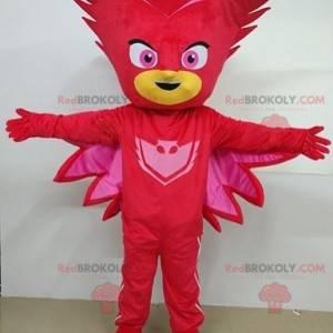 Rot maskiertes Schneemann-Maskottchen des Superhelden -