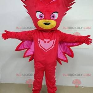 Superhero red masked snowman mascot - Redbrokoly.com