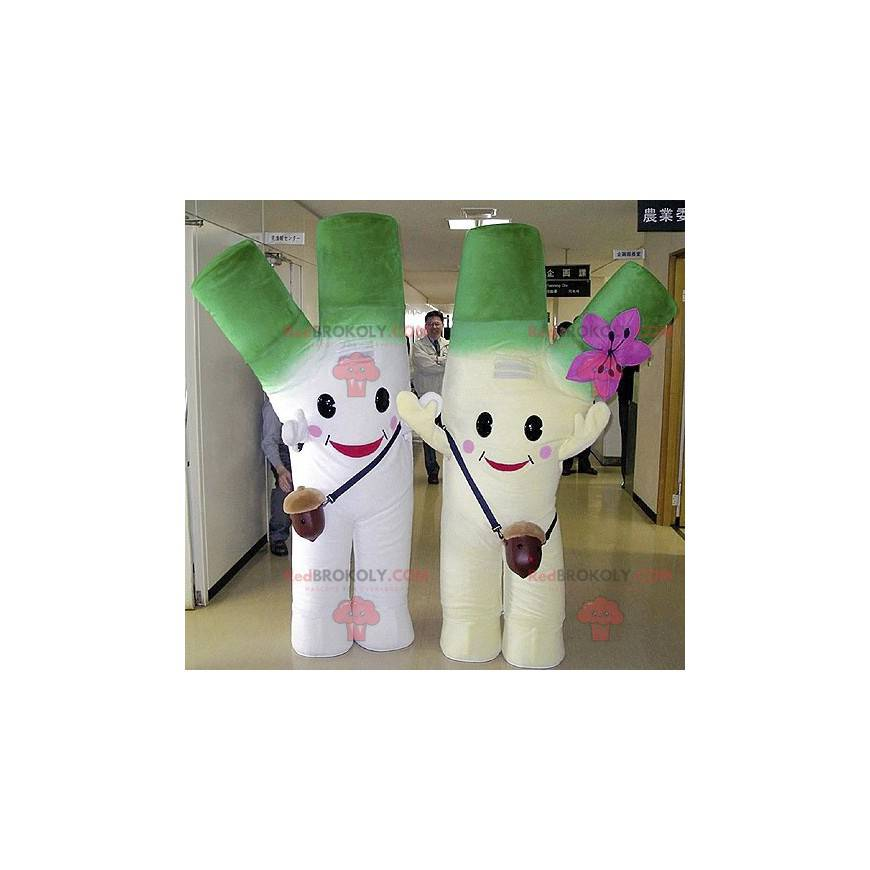 2 mascots of giant green and white leeks - Redbrokoly.com