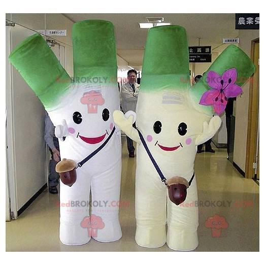 2 Maskottchen aus riesigem grünem und weißem Lauch -