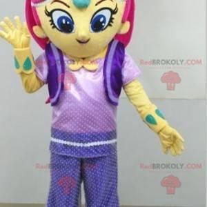 Žlutá dívka maskot s růžovými vlasy - Redbrokoly.com