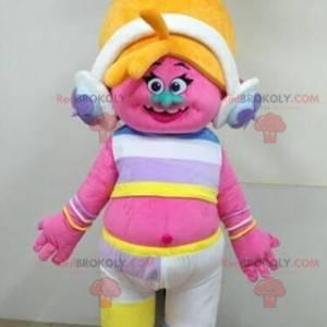 Růžový troll maskot s blond vlasy - Redbrokoly.com