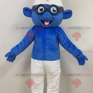 Mascote Smurf com óculos famoso personagem azul - Redbrokoly.com