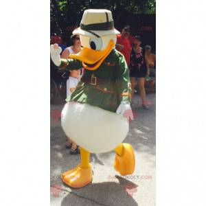 Donald Duck-mascotte verkleed als ontdekkingsreiziger -