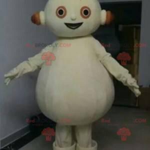 Plump white snowman mascot. White robot mascot - Redbrokoly.com