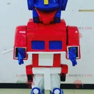 Modrá, bílá a červená hračka maskot Transformers způsobem -
